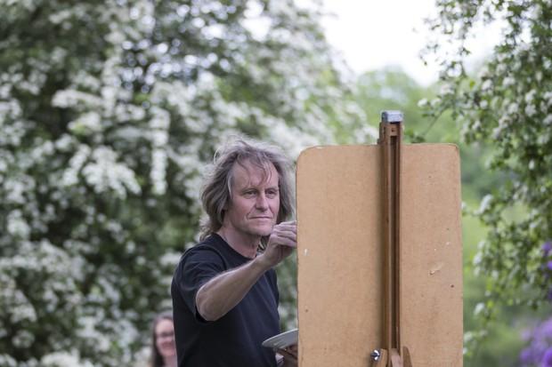 A painter in the garden at Dunham Massey, Cheshire