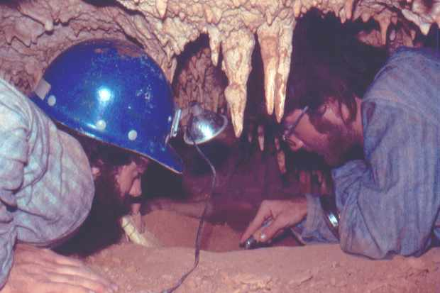 Scientists uncovering the fossils 30+ years ago in Grand Cayman Cave, with Gary Morgan and Dr Greg McDonald © NMMNH