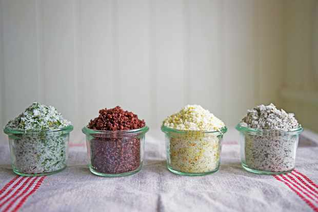 Use different ingredients to create other flavoured salts. Left to right: wild garlic, red wine, rosemary and orange, Scarborough fair.