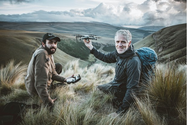 Gordon Buchanan with Sebastian Kohn in the Antisanilla Reserve, in the Andes, whilst using a drone to observe Andean Condors. © Freddie Claire