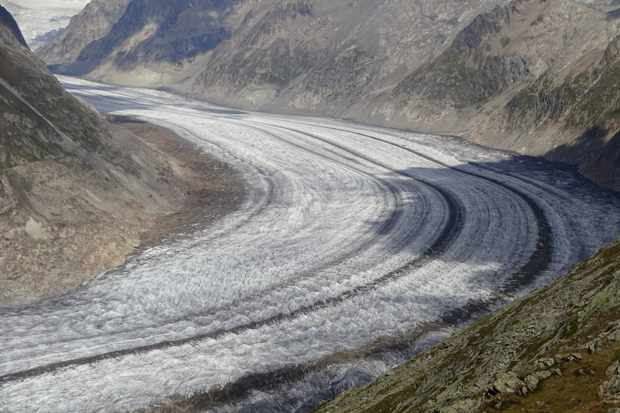 Great Aletsch Glacier is the largest glacier in Central Europe, and is located in the Swiss Alps Jungfrau-Aletsch Natural World Heritage Site. © M. Huss