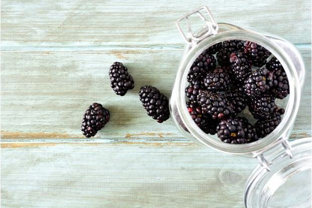 Blackberries in a jar © Cathy Scola/Getty