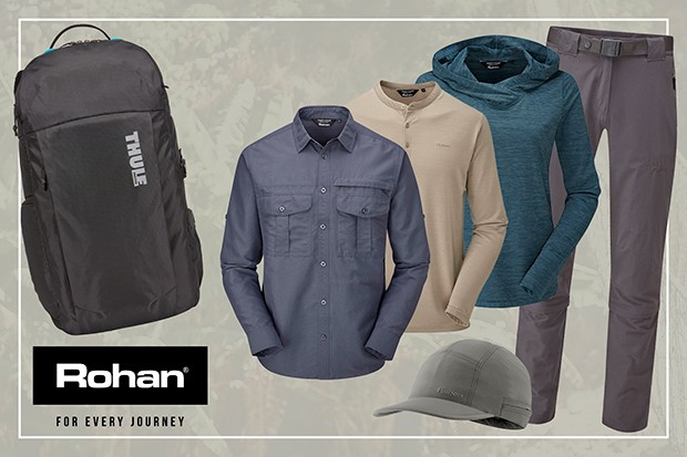 Backpack and Rohan clothing.