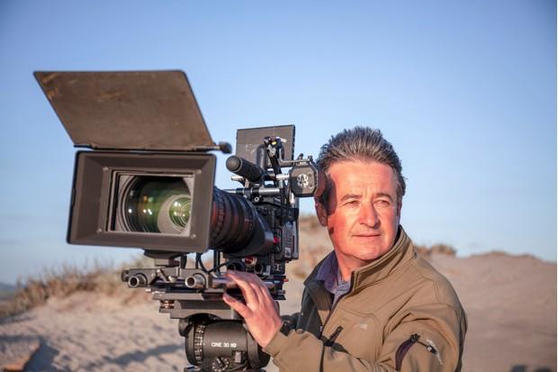 Colin Stafford-Johnson filming on the coast of Monterey Bay, California. © John Gray