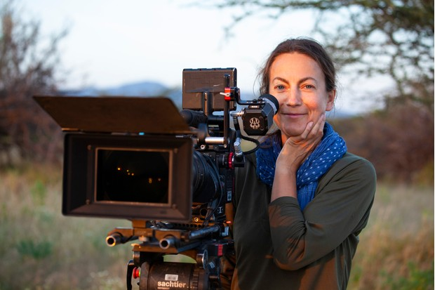 Sue Gibson filming in the Samburu/Buffalo Springs National Reserves, Kenya. © James Hemming