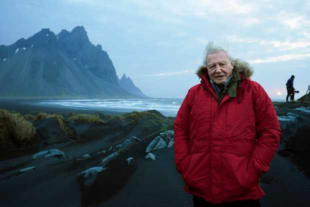 David Attenborough filming at Stokksnes beach in Iceland for Seven Worlds, One Planet. © Alex Board/BBC NHU