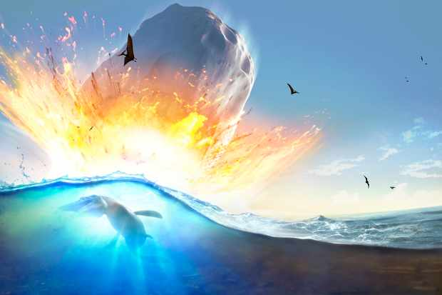 Asteroid impact. Illustration of a large asteroid colliding with Earth on the Yucatan Peninsula in (what is modern day) Mexico. This impact is believed to have led to the death of the dinosaurs some 65 million years ago. The impact formed the Chicxulub crater, which is around 200 kilometres wide. The impact would have thrown trillions of tons of dust into the atmosphere, cooling the Earths climate significantly, which may have been responsible for the mass extinction. A layer of iridium- rich rock, known as the K pg boundary, is thought to be the remnants of the impact debris. Here, the impact is seen from the ocean. The animal in silhouette is a mosasaur, an extinct marine predator.