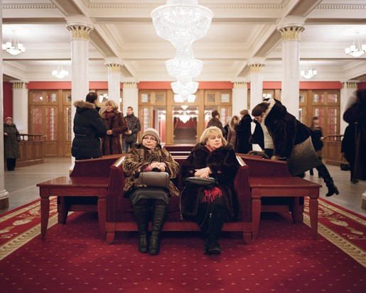 Concert-goers in the lobby of the Novosibirsk State Academic Opera and Ballet Theatre. When the opera house was being built, more than twenty-four million Russians, both soldiers and civilians, perished in the Great Patriotic War. That was enough dead to sell every ticket in its auditorium nearly twenty thousand times over – the equivalent of a full house every day for fifty-five years.