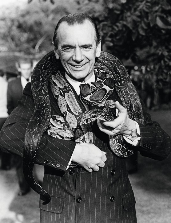 Portrait of English composer Sir Malcolm Sargent, with a large snake around his neck, September 21st 1955. (Photo by Keystone/Hulton Archive/Getty Images)
