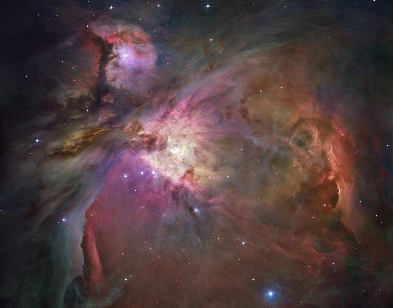 The Orion Nebula, as seen by the Hubble Space Telescope. Credit: NASA, ESA, M. Robberto ( Space Telescope Science Institute/ESA) and the Hubble Space Telescope Orion Treasury Project Team