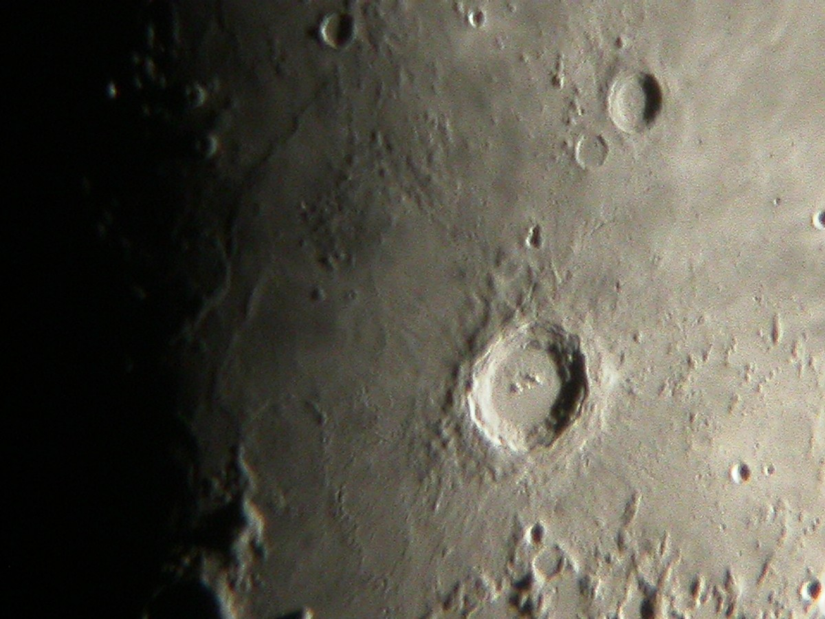 Crater Copernicus captured with a Nikon CoolPix 4500 camera attached to a 125mm Schmidt-Cassegrain on an equatorial mount. Credit: Ade Ashford