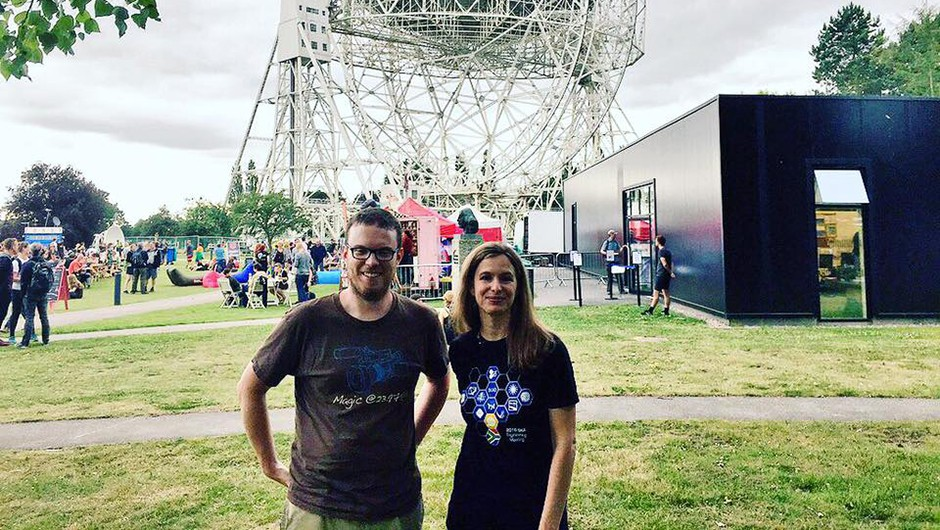 BBC Sky at Night Magazine editorial assistant Iain Todd, pictured with Dr Anna Bonaldi of the University of Manchester, a speaker at Bluedot 2017. Credit: Iain Todd / BBC Sky at Night Magazine