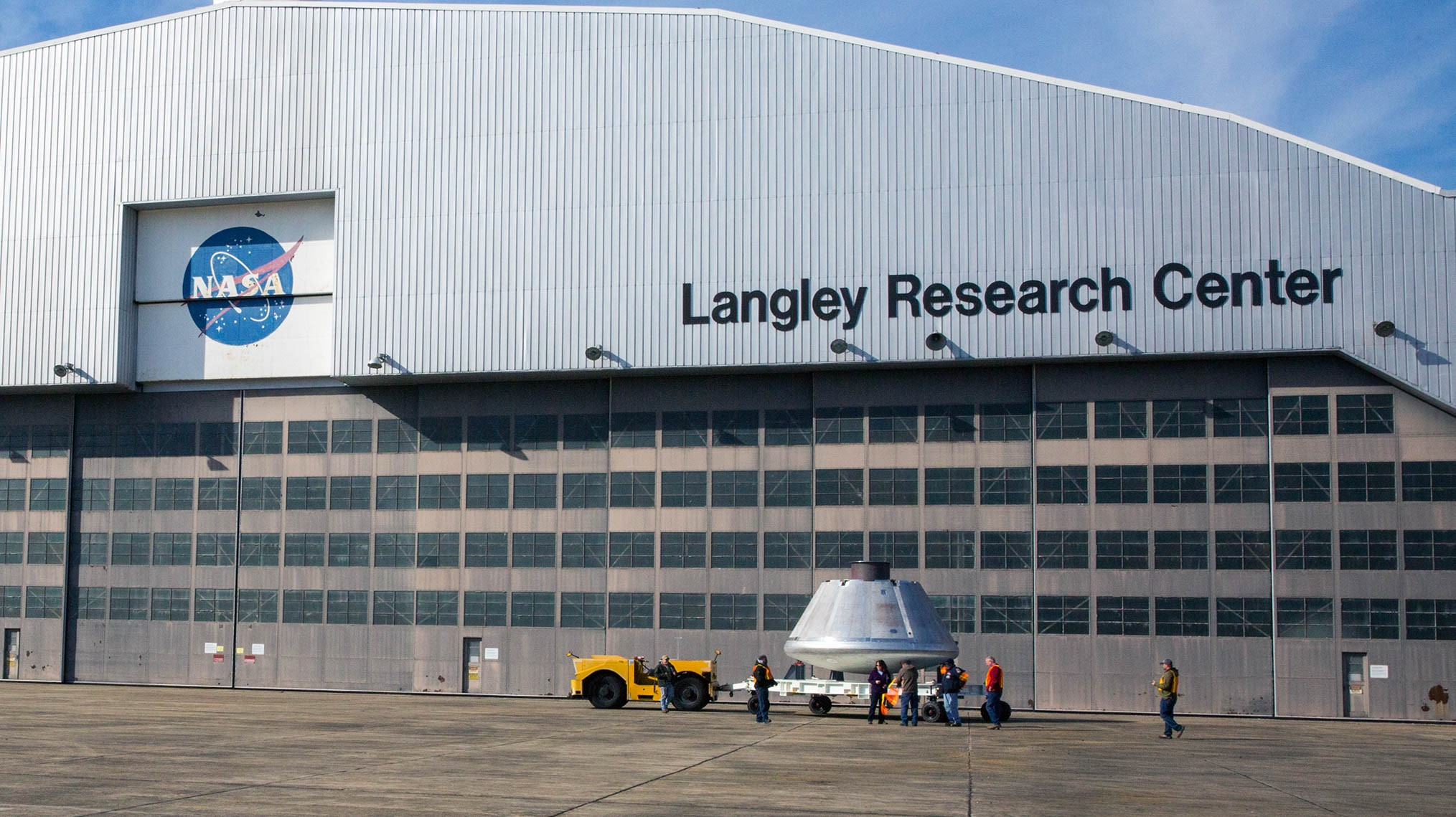 The Orion crew module is transported from NASA's Langley Research Center in Hampton, Virginia, to the Joint Base Langley-Eustis on 26 January 2018 to be painted before final testing and shipment to NASA's Johnson Space Center in Houston.Credit: NASA/David C. Bowman