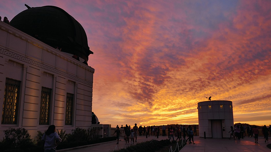 Observatories that are open to the public are a great way of finding dark skies and like-minded stargazers in another country. Here, the Sun sets over over Griffith Observatory in Los Angeles, US. Credit: Jamie Carter