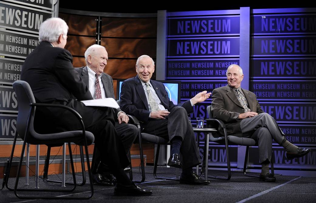 The crew of Apollo 8 reunited in 2017. From second left: Borman, Lovell, Anders