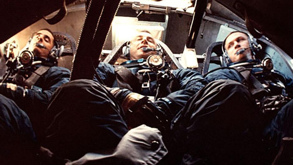 Lunar module pilot Bill Anders, command module pilot Jim Lovell and commander Frank Borman during a training exercise
