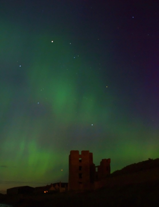 Aurora over Thurso Castle Gordon Mackie, Caithness, UK. Equipment: Olympus E420 DSLR camera, tripod.