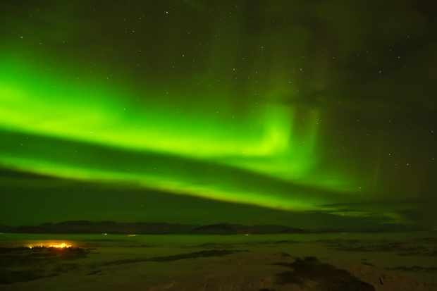 Northern Lights over Iceland Tom Howard, Borgarnes, Iceland. Credit: Nikon D7000 DSLR camera, Nikkor 18-200mm lens.