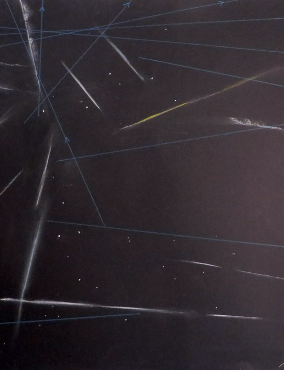 Perseids and satellites sketch Deirdre Kelleghan, County Wicklow, Ireland, 12/13 August 2015. Equipment: Conte gel pen and pencil, black paper.