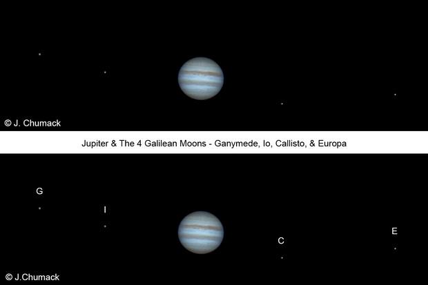Jupiter & 4 Moons Jovian System on 03-08-2016C8 SCT + QHY5iiL CCD camera filter600 frames