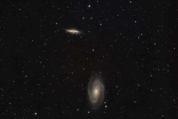 Messier 81 (also known as NGC 3031 or Bode's Galaxy) is a spiral galaxy and the largest galaxy in the M81 Group; a group of 34 galaxies in the constellation Ursa Major. Another member of this group is Messier 82 (also known as NGC 3034 or the Cigar Galaxy) which is a starburst galaxy about five times more luminous than the whole Milky Way. Both galaxies are about 12 million light-years away.  