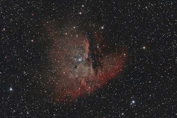 Date: September 7 - 8 2013 Integration: 32 x 300 seconds Canon Rebel T3i / 600D/ Kiss X5 - astro-modded. Telescope: Officina Stellare APO APM130 -780.  Astronomik's CCD CLS Clip Filter.  Mounted on a SkyWatcher NEQ6 Pro Mount.  Guiding: Skywatcher Startravel 80/ QHY5 Guider Imaged at Combe Bissett, Nr Salisbury, UK Info:  and October 5 - 6 2013 Integration: 77 x 300 seconds Canon Rebel T3i / 600D/ Kiss X5 - astro-modded. Telescope: Officina Stellare APO APM130-780.  Astronomik's CCD CLS Clip Filter.  Mounted on a SkyWatcher NEQ6 Pro Mount.  Guiding: Skywatcher Startravel 80/ QHY5 Guider Imaged at Combe Bissett, Nr Salisbury, Wiltshire and at the Disciples of the Dark Arts star Party at Brighstone Isle of Wight, UK.  Info: http://en.wikipedia.org/wiki/NGC_281