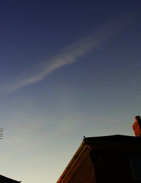 Perseid Meteor past Cassiopeia Mike Barber, West Midlands, 10 August 2012. Equipment: Pentax K-r camera.