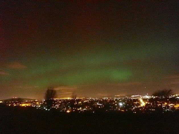 Further south, green veils shimmered over Edinburgh. This image was taken around 10pm on 27 February by the British Geological Society's Space Weather section. Credit: @BGSspaceWeather/Twitter