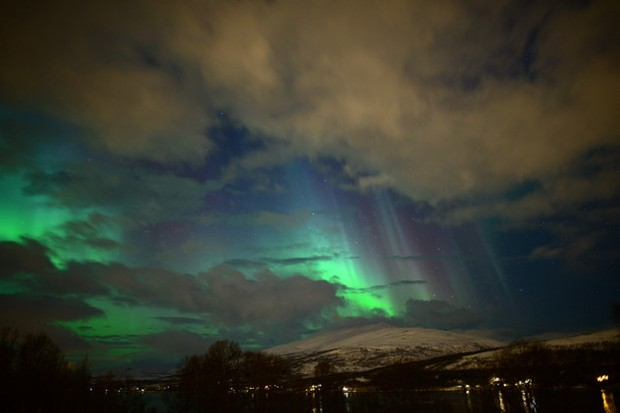 Elizabeth-Gyurgyak posted this image of dramatic slanting auroral rays through the cloud on 27 February from Tromso, Norway, on the spaceweather.com aurora gallery. Credit: Elizabeth Gyurgyak/ Spaceweather.com