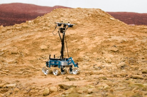 """Robotic rover """"indie"""" being tested on the simulated martain landscape at the ATLAS, R27, quadrangle at STFC's Rutherford Appleton Laboratory under an ESA contract, 8th December 2011."""