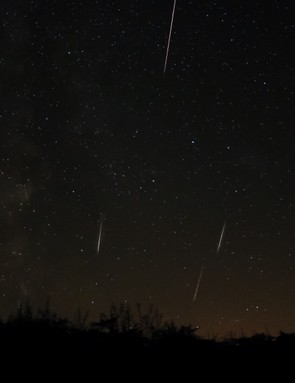 Perseid meteors, Joy Stevens, Dorset, 12 August 2016. Equipment: Canon EOS 70D DSLR camera, Samyang 14mm lens.