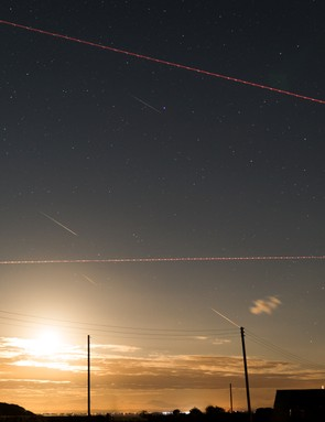 Aircraft trails, satellites and Perseids John Short, Dumfries, 13 August 2017. Equipment: Sony A7s, Samyang 35mm lens.