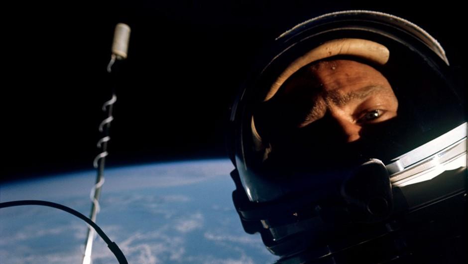 Aldrin's 'selfie in space' on Gemini 12. Credit: NASA