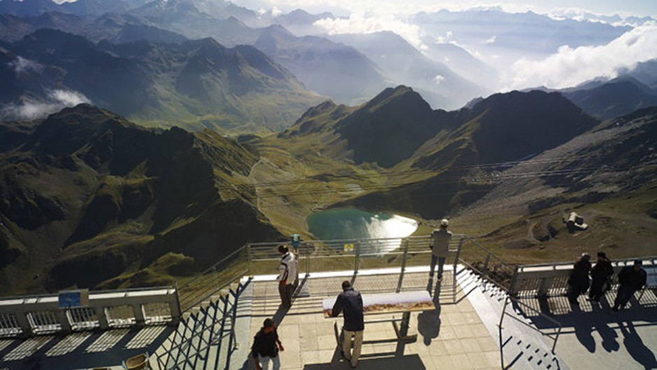 The south terrace overlooks the Lac d'Oncet and the dirt track up Credit: Pic du Midi