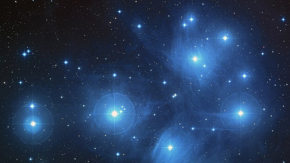 The Pleiades, as seen through a telescope. This cluster is known as 'The Seven Sistsers' in Greek and also Aboriginal mythology. NASA, ESA, AURA/Caltech, Palomar Observatory The science team consists of: D. Soderblom and E. Nelan (STScI), F. Benedict and B. Arthur (U. Texas), and B. Jones (Lick Obs.)