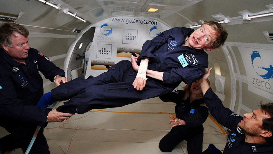 "In 2007, Stephen Hawking experienced weightlessness on board a parabolic flight. ""I have been wheelchair-bound for almost four decades and the chance to float free in zero g will be wonderful,"" said Hawking before the flight. Credit: Zero Gravity Corp/NASA"