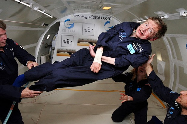 "In 2007, Stephen Hawking experienced weightlessness on board a parabolic flight. ""I have been wheelchair-bound for almost four decades and the chance to float free in zero g will be wonderful,"" said Hawking before the flight. Image Credit: Zero Gravity Corp/NASA"