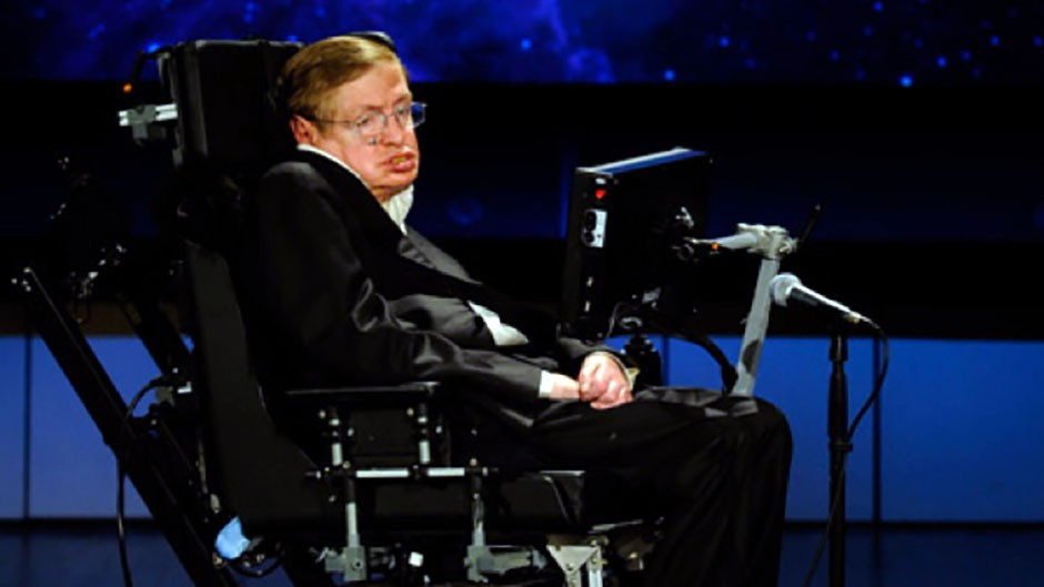 Despite losing the ability to speak in 1985, Hawking continued to give lectures and talks for many decades. Credit: NASA