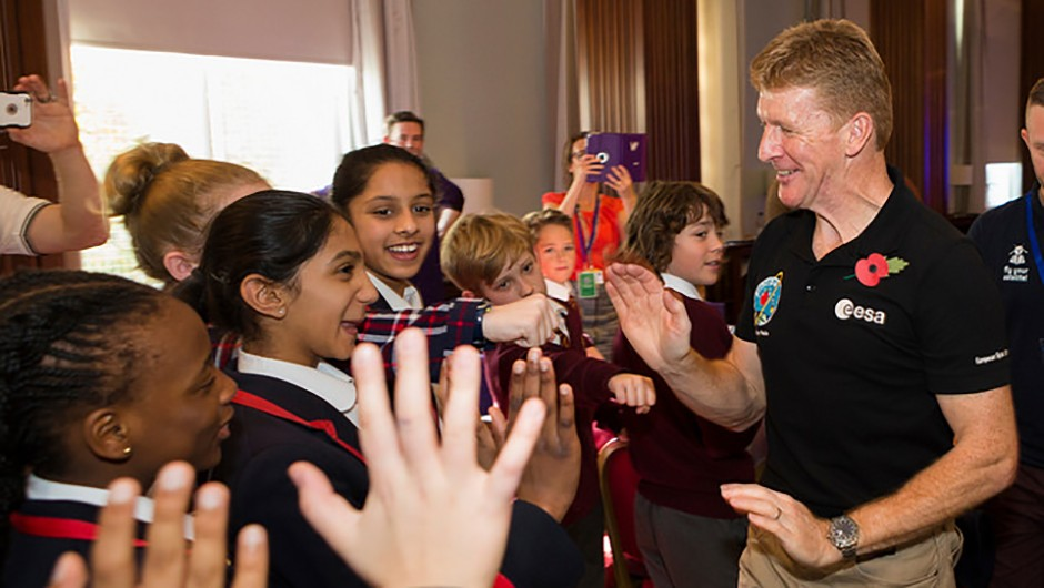 Peake pictured during the UK Space Agency Schools Conference hosted by the University of Portsmouth at the city's Guildhall, November 2016. Outreach projects with UK schools are a major part of the British astronaut's mission, both on and off terra firma.Credit: UK Space Agency