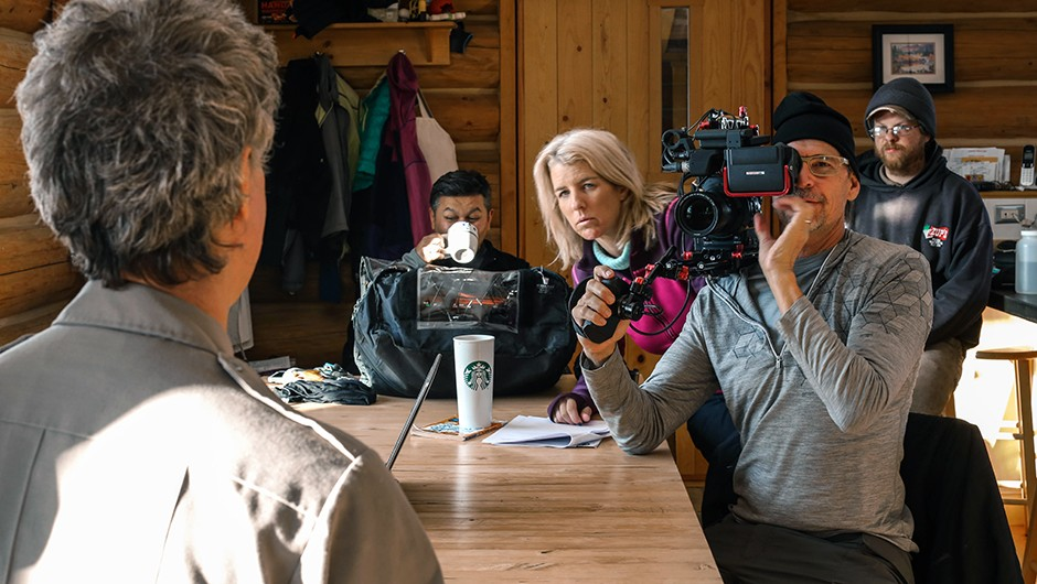 Don King and Director Rory Kennedy film Dave Schirokauer about NASA's Arctic-Boreal Vulnerability Experiment (ABoVE).