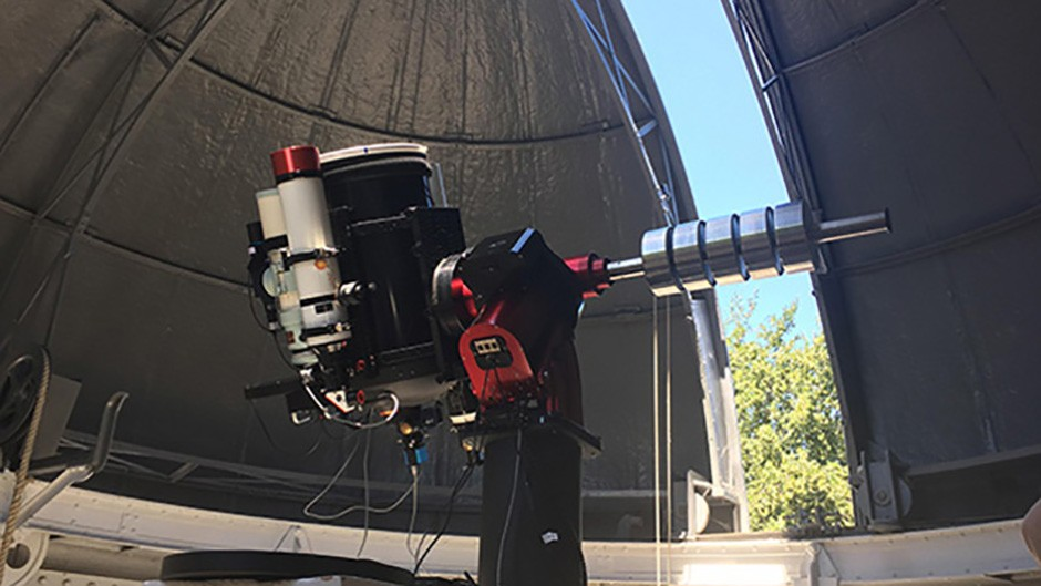 The four-part scope: a 14-inch Schmidt-Cassegrain to produce high magnification views of the Moon and planets; a 4.2-inch refractor with filter wheel and CCD camera for wide-field imaging; a 4.7-inch refractor for low magnification views of the Moon and planets, and a solar telescope for close surface imaging of the Sun. Credit: Katherine Shaw / BBC Sky at Night Magazine