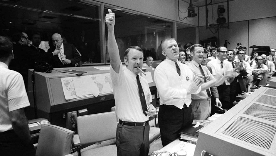 """We didn't have time to deliberate over what was happening."" Mission control celebrates the successful splashdown of Apollo 13 Command Module 'Odyssey'. Credit: NASA"