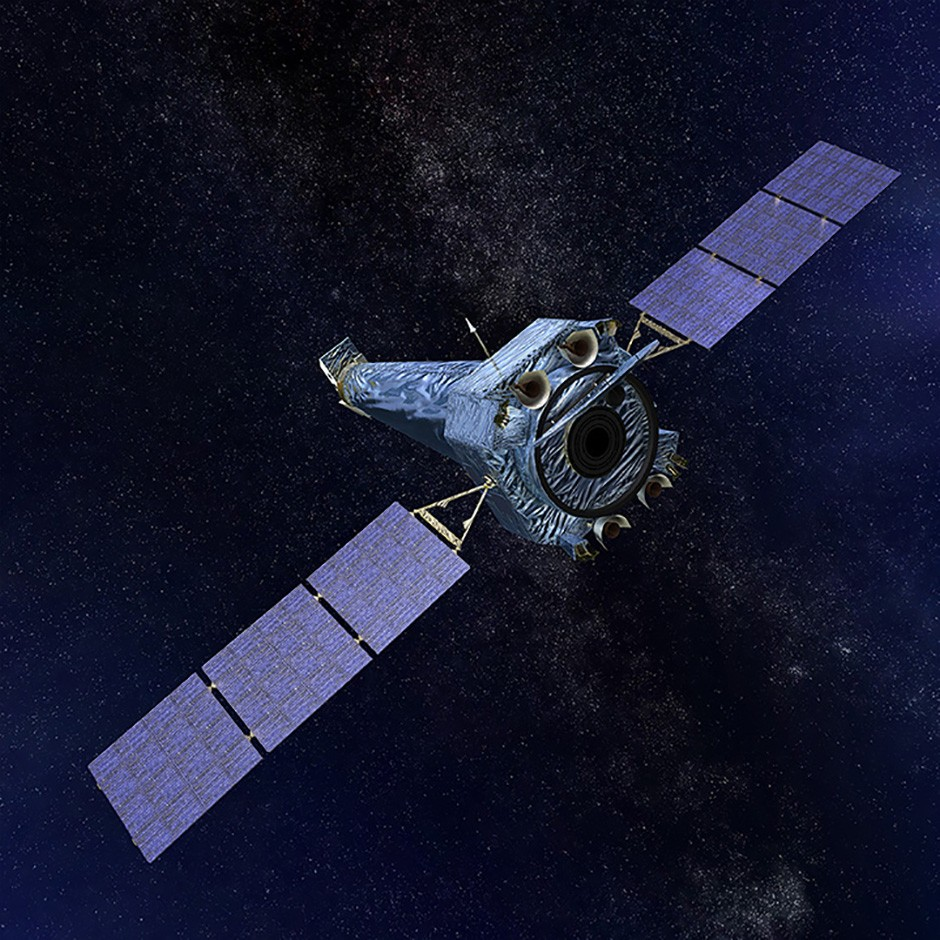 An artist's impression of the Chandra X-ray Observatory in space. (Illustration: NGST