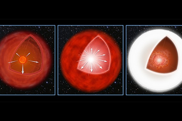 An artist's depiction of a FELT event. In the left image, a dying red star ejects mass into space. This creates a shell around the star. In the centre image, the star's core explodes. In the right image, the supernova shockwave hits the shell, converting the energy into a burst of light. Image Credit: NASA, ESA, and A. Feild (STScI)