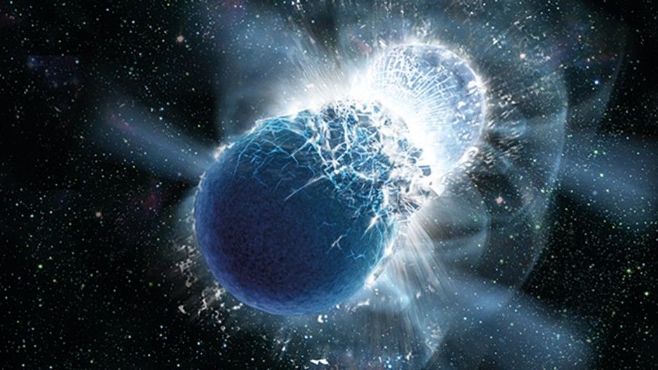 Artist's impression of a gamma ray burst, caused by binary neutron stars collapsing into one another. The FRB afterglow is similar to that of gamma ray bursts. Credit: Franklin and Marshall College