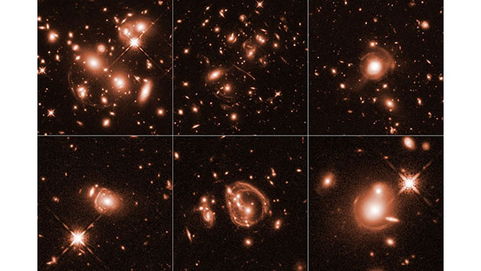 These images were captured by the Hubble Space Telescope as part of a survey of 22 distant ultra-luminous infrared galaxies. While unrelated to the observations of SPT0615-JD, the smears and arcs show how gravitationally-lensed light sources appear. Credit: NASA, ESA, and J. Lowenthal (Smith College)