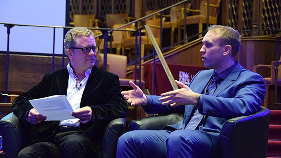 ESA's Dr James Carpenter discusses the significance of lunar exploration with comedian and host Jon Culshaw. Credit: Philippa Walker/University of Bristol