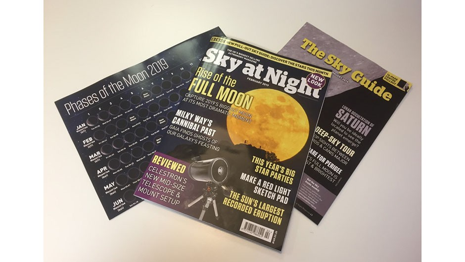 This month's new-look mag comes with a pull-out guide to February's night-sky highlights, plus a free lunar phases poster for 2019