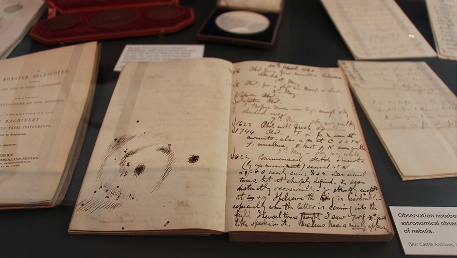 Many of the 3rd Earl's sketches and notes are available to view in the Science Centre at Birr Castle. This one shows sketches made during observations of the Whirlpool Galaxy Credit: Iain Todd/BBC Sky at Night Magazine