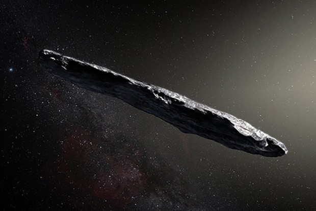 An artist's impression of the first interstellar asteroid, named `Oumuamua. It may have been travelling through space for millions of years before entering our Solar System. Image Credit: ESO/M. Kornmesser